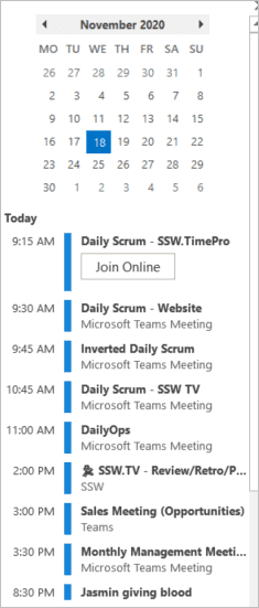 Calendar in Outlook
