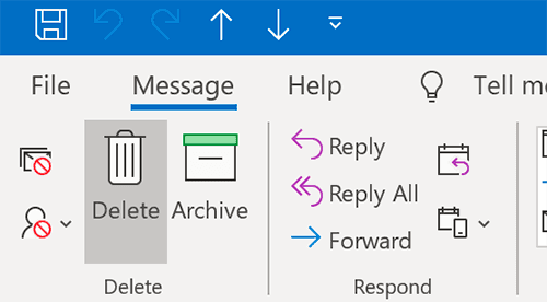 delete outlook message button