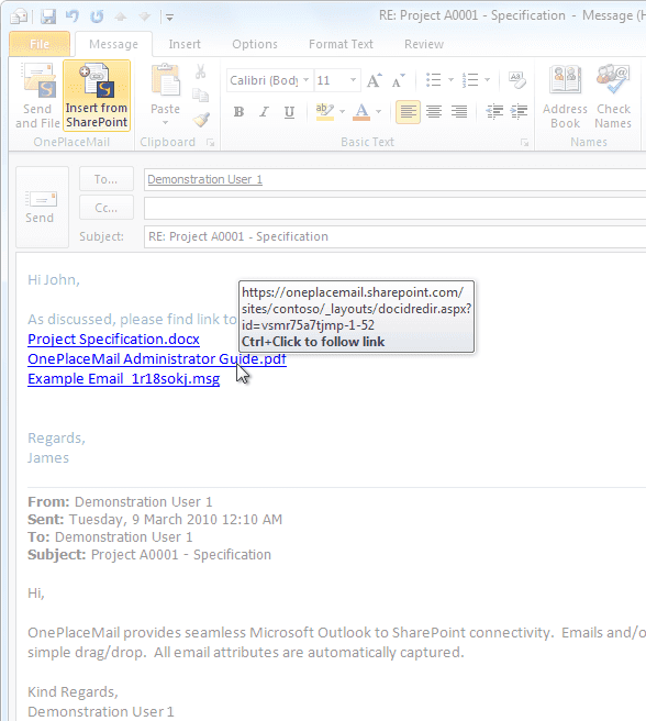 insert link in email to sharePoint item with document id png