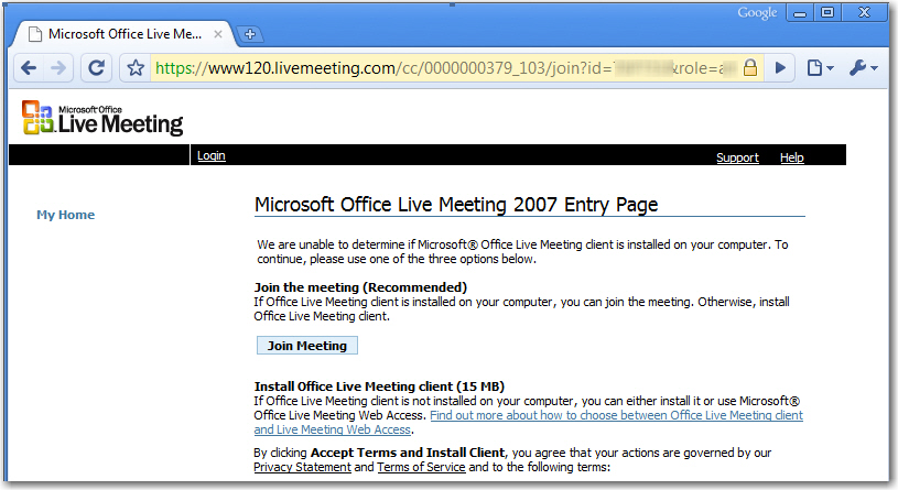 microsoft office live meeting 2007 client download