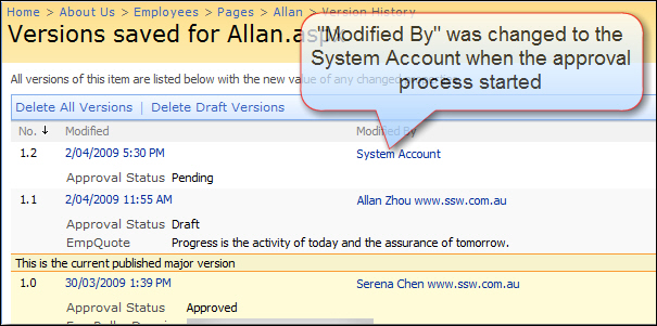 The ModifiedBy field will be changed to 