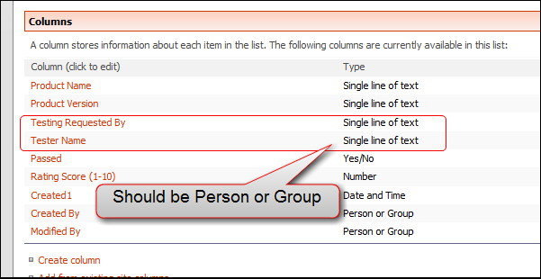 The user type should be Person or Group