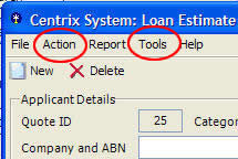 Centrix - File, Action, Report, Tools & Help Menus