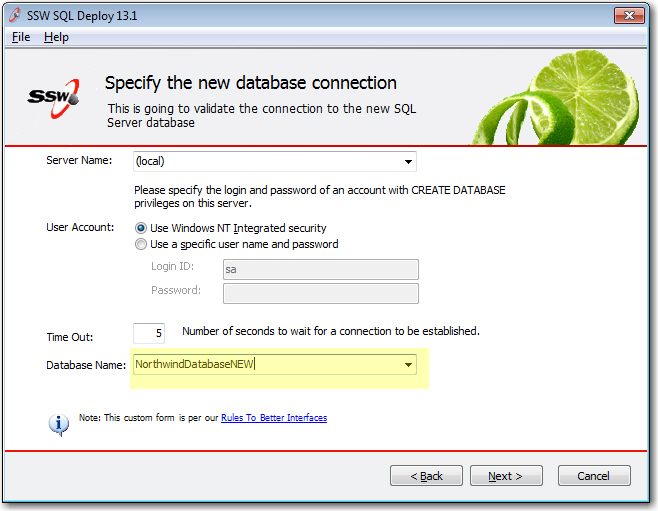SQL Deploy uses its own custom form
