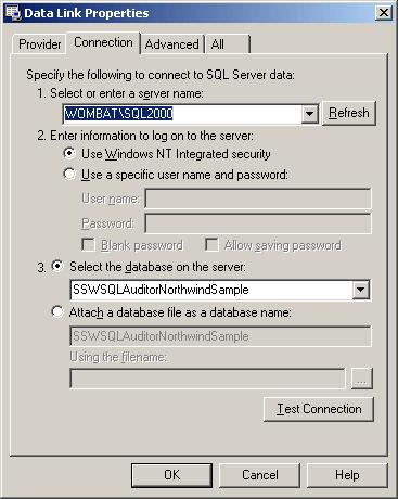 Standard Microsoft UDL dialog