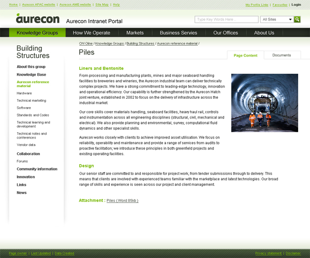 A clean interface consistent with Aurecon branding guidelines
