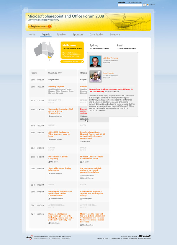 The Agenda page with speaker and presentation information displayed