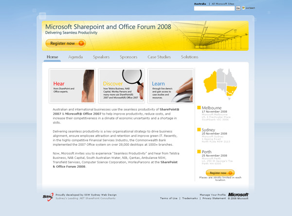 The SharePoint and Office Forum website home page