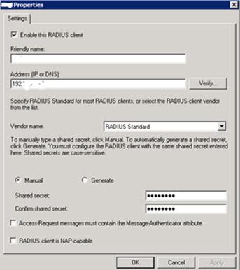 Radius client settings